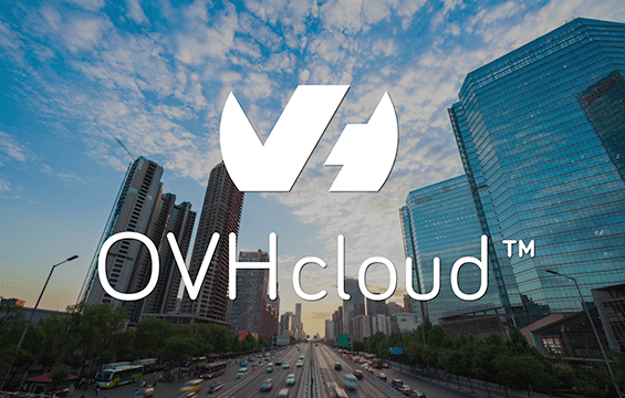 ovhcloud logo on top of city backdrop
