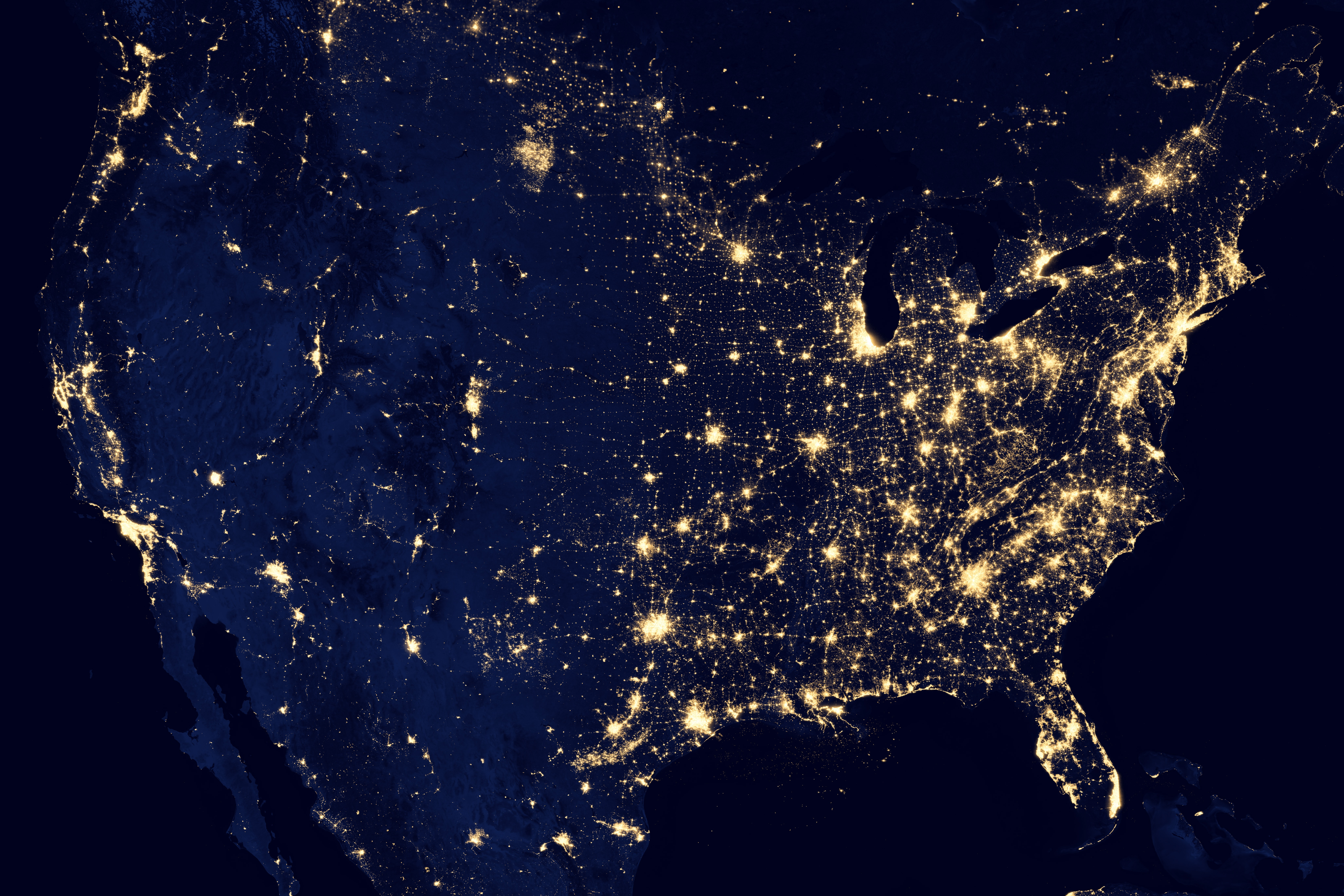 United states at night