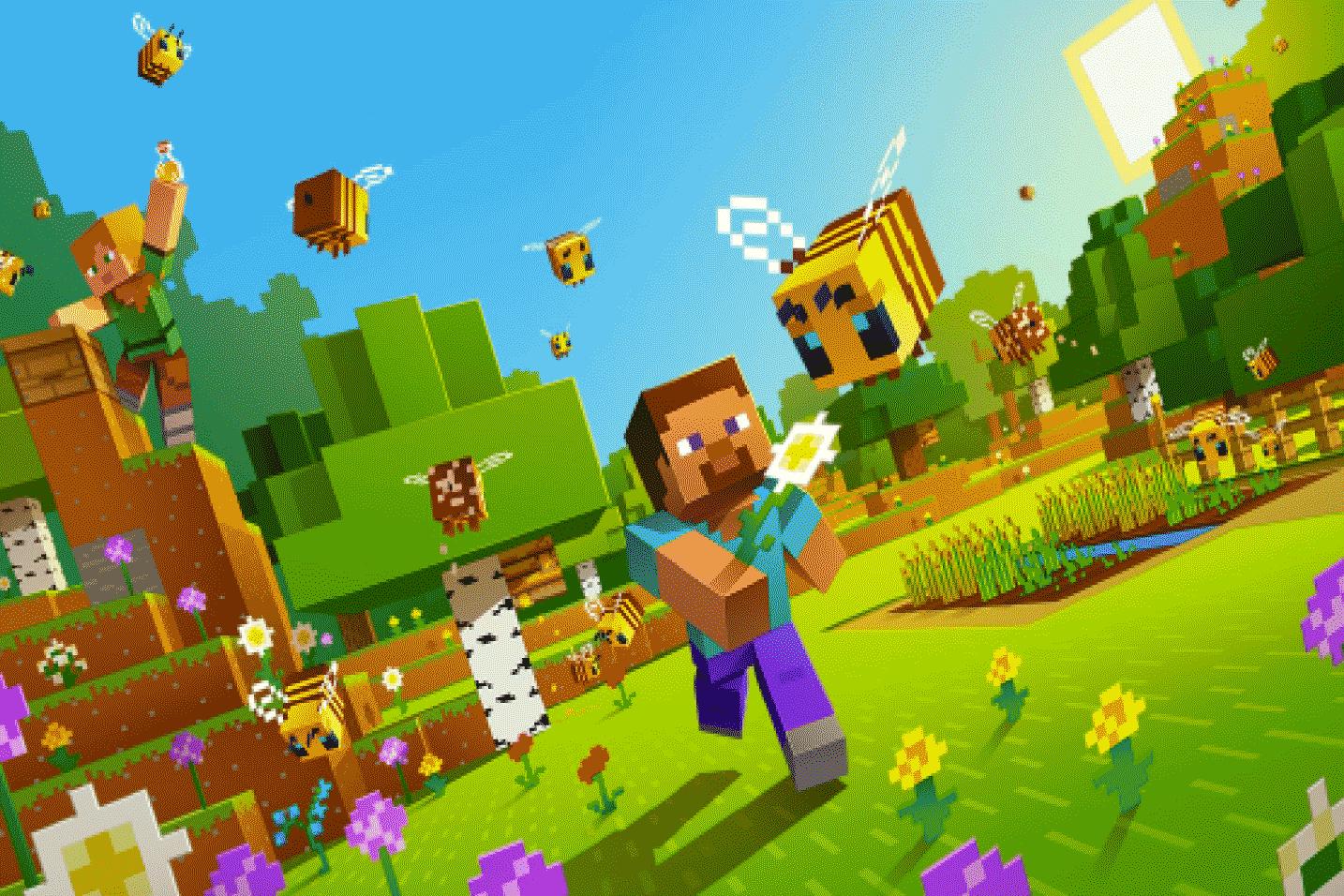 Minecraft world - characters running around outside
